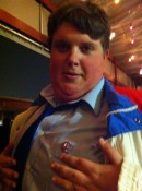 Jacob Wysocki (Troy) wearing one of the Fat Kid buttons we gave out...