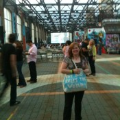 This wonderful bag was made by Katie Sawyer. NYC Rooftop festival.